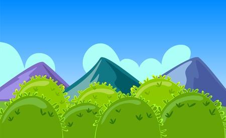 ramble: Cartoon Mountains Landscape with hills Illustration