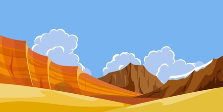 desert landscape: Desert wild nature landscapes with mountains Illustration
