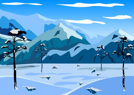 winter mountain landscape. Vector illustration. Vector