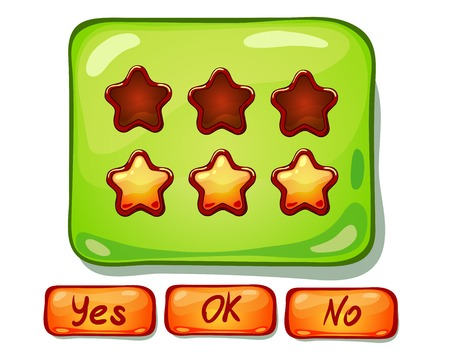 ?artoon panels for game UI, including yes/no and Ok buttons.
