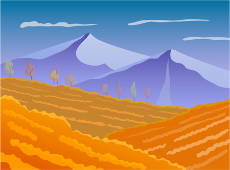 illustrate: landscape with fields Vector illustrate.
