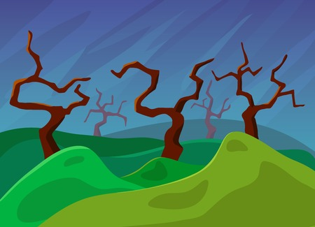 cloudless: Landscape with old trees Vector illustration