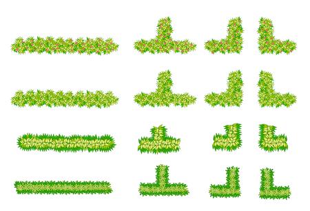 경치: 브러쉬, 식물, 조경 디자인을위한 꽃 항목 평면도