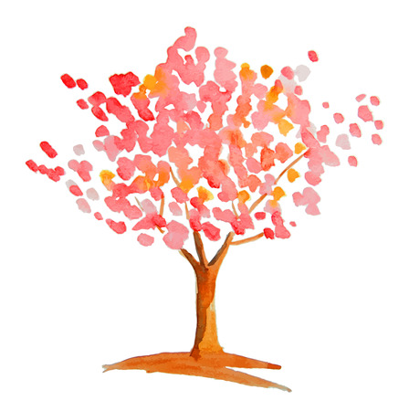 pink tree: Pink tree painted by watercolor Illustration