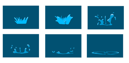 water drip: Animation splash. Cartoon splash frames