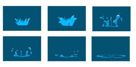 splash de agua: Salpicaduras de Animaci�n. Marcos del chapoteo de la historieta