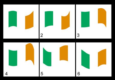 anthem: Irish flag animation Vector frame. Illustration