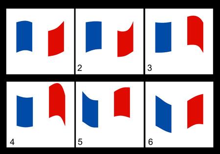 anthem: Animation of the French flag  Vector frame. Illustration