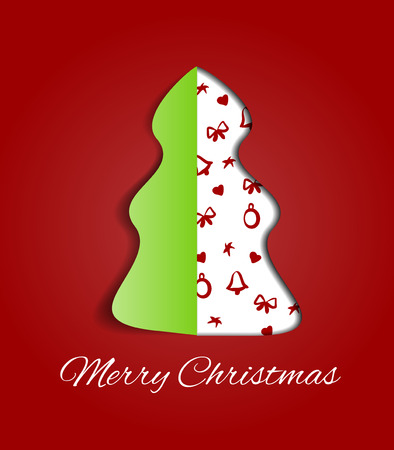 cuted: Simple vector red christmas tree cuted from paper - original new year card