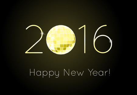 discoball: Vector - Happy New Year 2016. Discoball Illustration