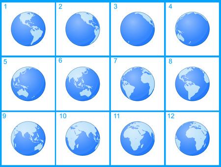 globo terraqueo: Animación globo giratorio alrededor de un eje