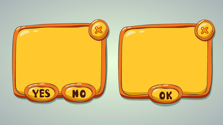 YELLOW: Glossy yellow cartoon panels for game or web UI Illustration