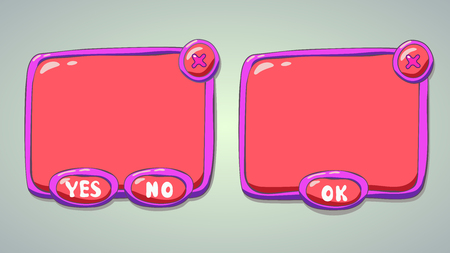 x games: Glossy pink  cartoon panels for game or web UI, including yesno and OK buttons Illustration
