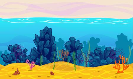 Underwater seamless landscape, cartoon background for game design
