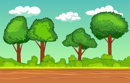 cartoon cloud: cartoon seamless horizontal landscape, nature illustration