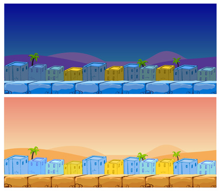 urban background: Seamless cartoon landscape of oriental city. Day and night background. Illustration