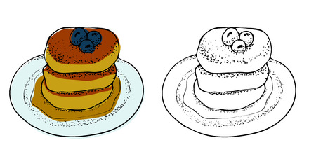 Vector Illustration of Pancakes with Maple Syrup. Hand drawn coloring page