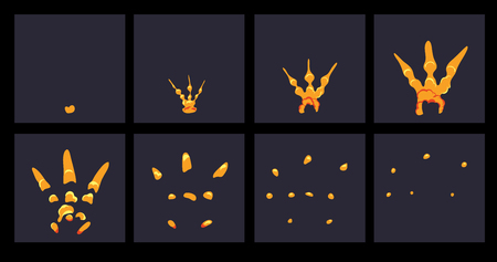 storyboard: Explode effect animation. Cartoon explosion frames Illustration