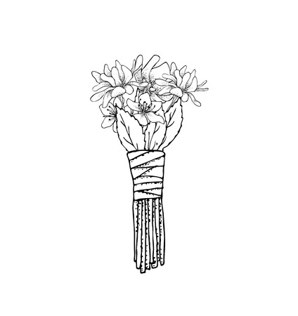 illustrated: floral illustrated in black and white. Bouquet of flowers