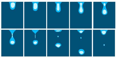 animatie van vallende waterdruppels Stock Illustratie