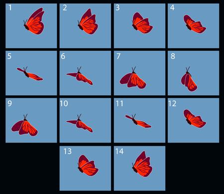 Animatie van flaing vlinder. explosie cartoon frames Stock Illustratie