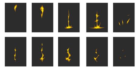 brandweer cartoon: bliksem animatie. Een blikseminslag op de grond.