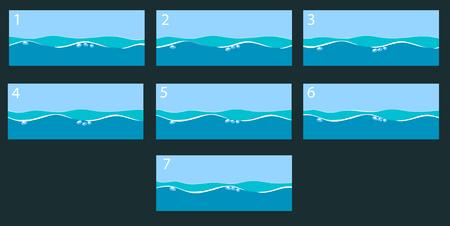 アニメーションの水面。ベクトル図