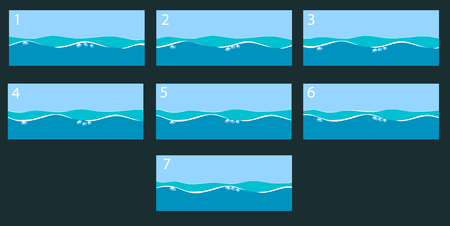 marine environment: Animation water surface. Vector illustration Illustration