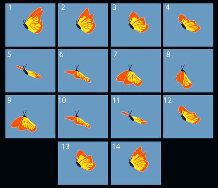 silhouette papillon: Animation du flaing papillon. cadres de dessins animés Illustration