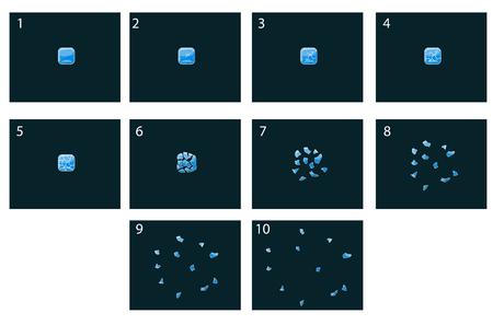 Animation smashing glass cube. Cartoon frames Иллюстрация