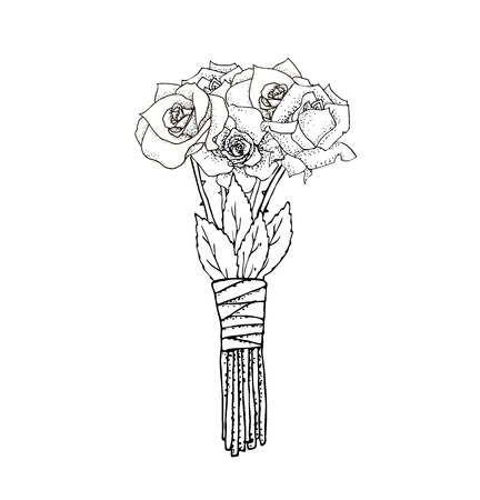 illustrated: Vector floral illustrated in black and white. Bouquet of flowers Illustration