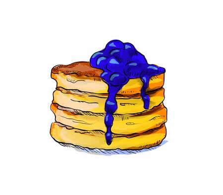 skecth: Hand drawn hamburger isolated on white background. Vector illustration.