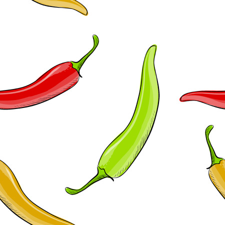 Hand drawn seamless pattern of chilli pepper . Vector illustration. Ilustração