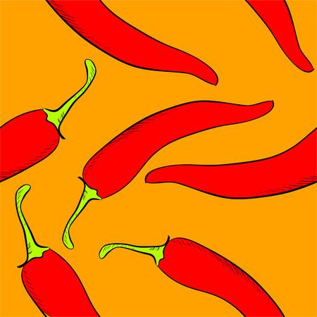 chilli pepper: Hand drawn seamless pattern of chilli pepper . Vector illustration. Illustration