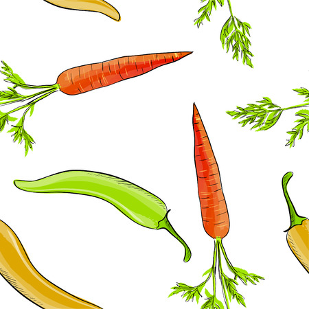 Hand drawn seamless pattern of carrot and chilli pepper . Vector illustration.