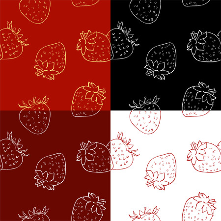 sliced fruit: Set of hand drawn  pattern of strawberries over white background