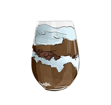 Hand drawn layered dessert with chocolate , biscuit cake and cream cheese on a white background. Vektoros illusztráció