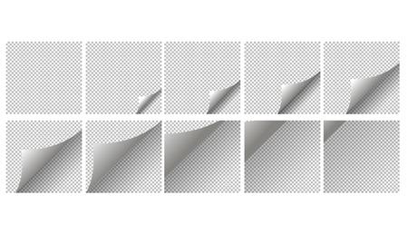 Animatie pagina coup. Paginakrul met schaduw op blanco vel papier. White paper sticker. Element voor reclame en promotionele boodschap op een transparante achtergrond. Vector Illustratie