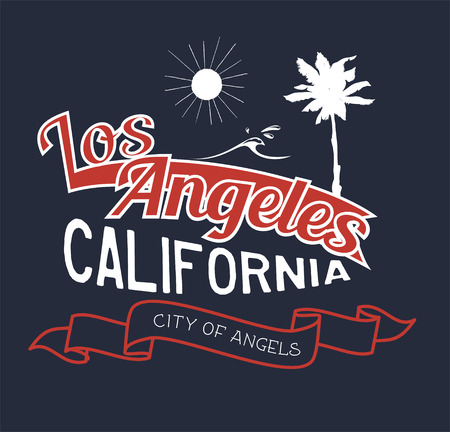 Vector illustration on the theme of Los Angeles, California. Typography, t-shirt graphics, poster, banner, flyer, postcard
