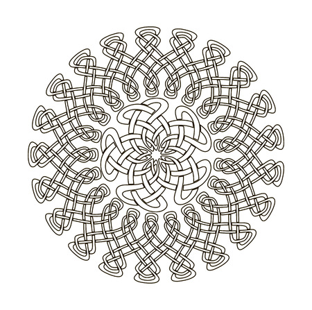 braids: Mandala in esoteric style. Set of isolated rings of celtic braids. Decorative elements for your design.