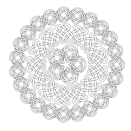 esoteric: Mandala in esoteric style. Set of isolated rings of celtic braids. Decorative elements for your design.