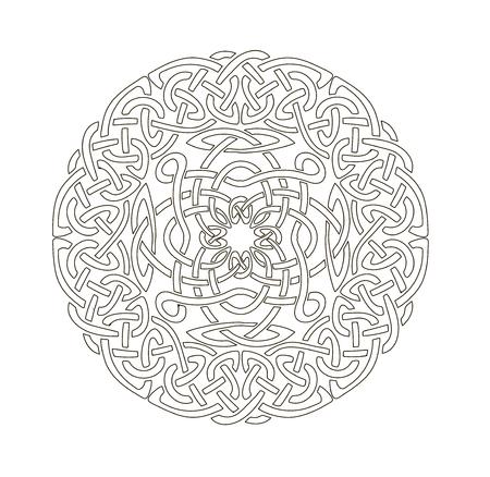 Mandala en estilo esotérico. Conjunto de anillos aislados de trenzas celtas. Elementos decorativos para su diseño.