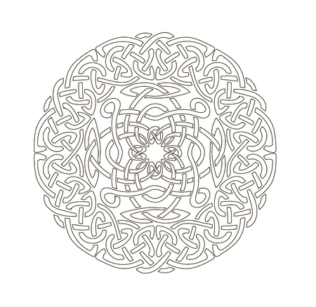 wickerwork: Mandala in esoteric style. Set of isolated rings of celtic braids. Decorative elements for your design.