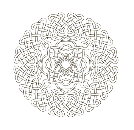 Mandala in esoteric style. Set of isolated rings of celtic braids. Decorative elements for your design.