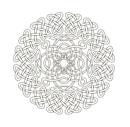 Mandala in esoterische stijl. Set van geïsoleerde ringen van Keltische vlechten. Decoratieve elementen voor uw ontwerp.