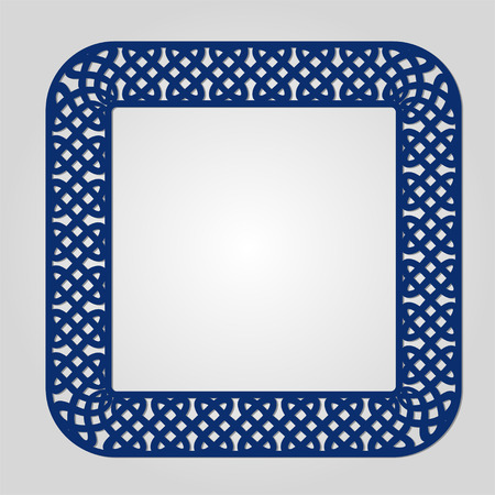 lasercutting: Abstract frame with swirls, vector ornament, vintage frame. May be used for lasercutting. Laser cut vector frame. Lazercut frame. Photo frame with lace corners for paper cutting. Illustration