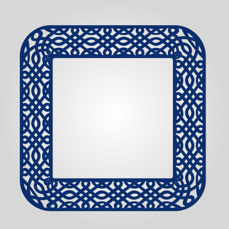 cameo: Abstract frame with swirls, vector ornament, vintage frame. May be used for lasercutting. Laser cut vector frame. Lazercut frame. Photo frame with lace corners for paper cutting. Illustration