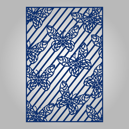 Abstract cutout panel for laser cutting, die cutting or stencil. Vector filigree pattern for wedding invitation card.