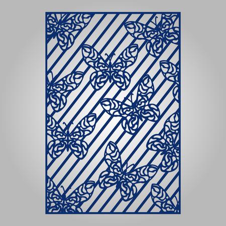 Zusammenfassung Ausschnitt Panel zum Laserschneiden, Stanzen oder Schablone. Vector filigrane Muster für Hochzeitseinladungskarte.