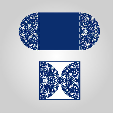 lasercutting: Abstract cutout invitation template. Suitable for lasercutting. Lazercut vector wedding invitation template. Lazer cut vector. Lace folds. Gate fold wedding invitation mockup.